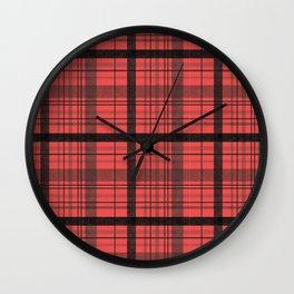 Black & Red Plaid Wall Clock