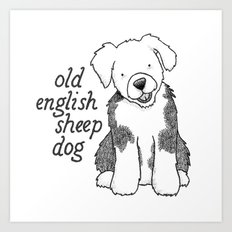 Dog Breeds: Old English Sheep Dog Art Print