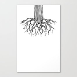 Tree Root Drawing (black on white) Canvas Print