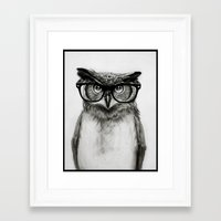 humor Framed Art Prints featuring Mr. Owl by Isaiah K. Stephens