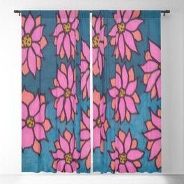 Pink and Blue Dahlia Print Blackout Curtain