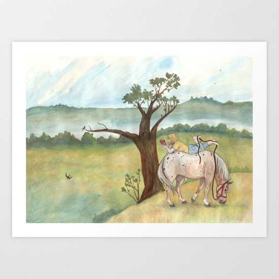 A Girl, A Pony and a Good Book Art Print