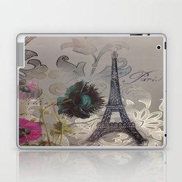 shabby elegance poppy flower french vintage paris Eiffel Tower Laptop & iPad Skin