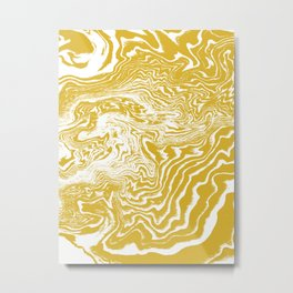 Suminagashi 2 gold and white marble spilled ink ocean swirl watercolor painting Metal Print