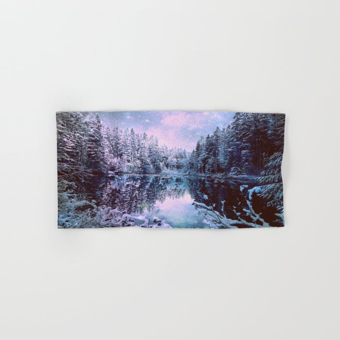 Icy Lavender Blue Winter Wonderland Forest Hand & Bath Towel