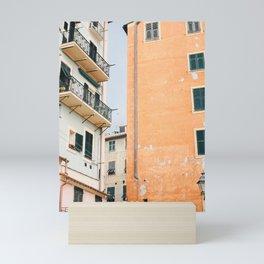 Italian Streets of the Riviera | Rustic Orange Building | Italy travel photography wall art  Mini Art Print