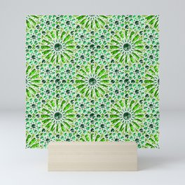 Geometric gemstones (emerald) Mini Art Print