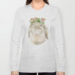 Lop Rabbit Floral Wreath Watercolor Painting Long Sleeve T-shirt