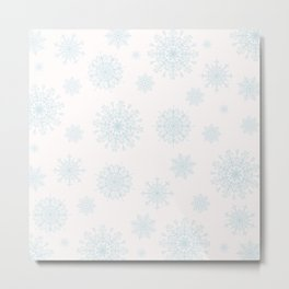 Assorted Light Blue Snowflakes On White Background Metal Print