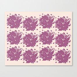 boho floral pattern violet monochrome Canvas Print