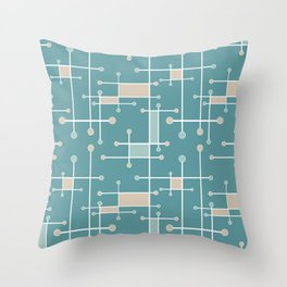 Intersecting Lines in Teal, Tan and Sea Foam Throw Pillow