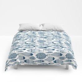 Blue Fish White Comforters