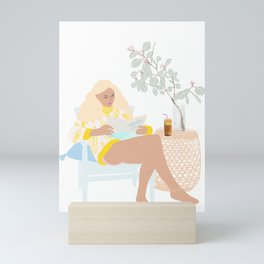frappé, no pants and chill Mini Art Print