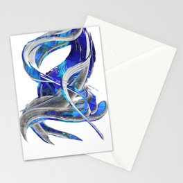 Blue White And Gray Art - Flowing 3 - Sharon Cummings Stationery Cards