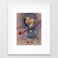 spaceship Framed Art Prints featuring SPACESHIP by busymockingbird