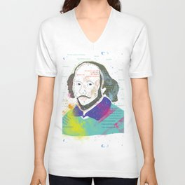Portrait of William Shakespeare-Hand drawn Unisex V-Neck