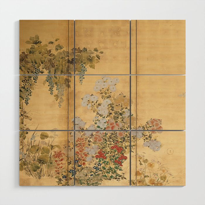 Japanese Edo Period Six-Panel Gold Leaf Screen - Spring and Autumn Flowers Wood Wall Art