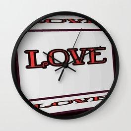 Love - Typography Lettering Art Design Wall Clock