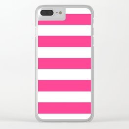 Barbie Pink (2004-2005) - solid color - white stripes pattern Clear iPhone Case