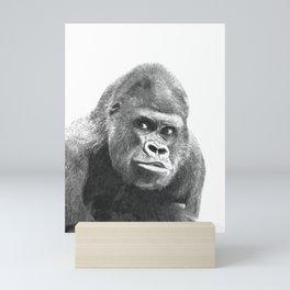 Black and White Gorilla Mini Art Print