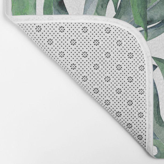 Tropical Palm Leaves Green Bath Mat