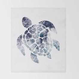 Sea Turtle - Blue Ocean Waves Throw Blanket