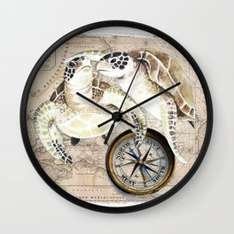 Sea Turtles Compass Map Wall Clock