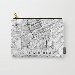Birmingham Map, Alabama USA - Black & White Portrait Carry-All Pouch