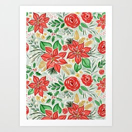 Lively Christmas Watercolor Floral Art Print