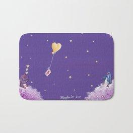Penguin Sends Love Letter with Heart Balloon to Friend Across Starry Sky Bath Mat