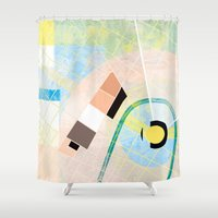 kandinsky Shower Curtains featuring P2 Urban Blocks by Dimitra Stefanakaki