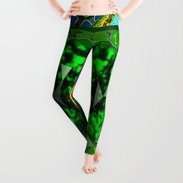 DECORATIVE  GREEN EMERALD GEM & BUTTERFLY ART DESIGN Leggings