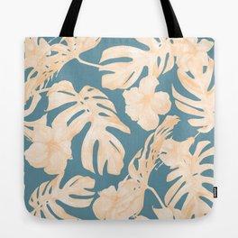 Island Vacay Hibiscus Palm Leaf Coral Teal Blue Tote Bag