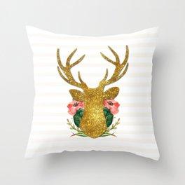 Floral Gold Deer Throw Pillow