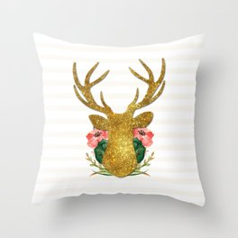 Floral Gold Deer Throw Pillow