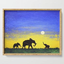 elephant wall canvas art  good luck animal african art landscape painting canvas wall nursery Serving Tray