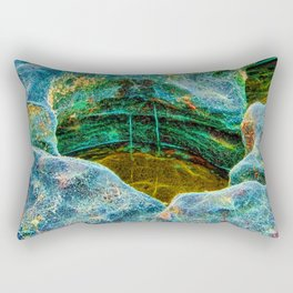 Abstract rocks with barnacles and rock pool Rectangular Pillow
