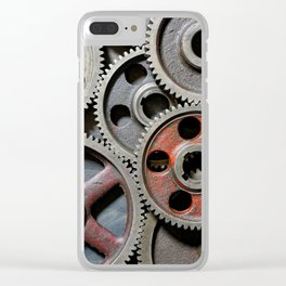 Group of old steel cogwheels Clear iPhone Case