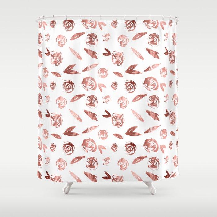 Rosette Rose Gold Shower Curtain
