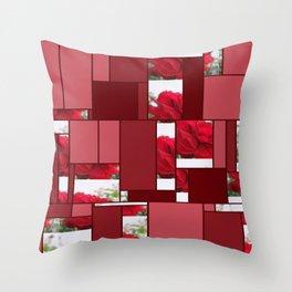 Red Rose Edges Art Rectangles 8 Throw Pillow