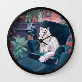 The Collector - Gouache Cat Painting Wall Clock