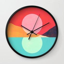 Abstraction_SUNSET_REFLECTION_MOUNTAINS_POP_ART_0222A Wall Clock