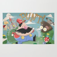 mario Area & Throw Rugs featuring Mario by Olly Blake