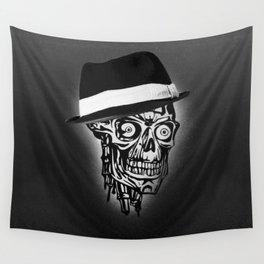 Elegant Skull with hat, B&W Wall Tapestry