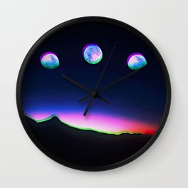 Trippy Moon Phases in the Night Sky Wall Clock