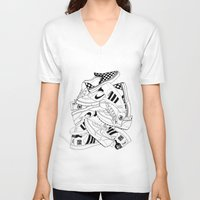sneakers V-neck T-shirts featuring Sneakers Illustration by SoulWon Cheung