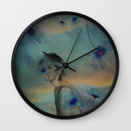Woman hidden in a world of flowers Wall Clock