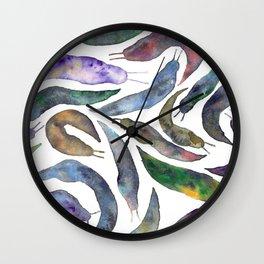 Watercolor Slugs Wall Clock