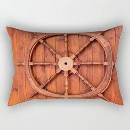 Nautical Ships Helm Wheel on Wooden Wall Rectangular Pillow