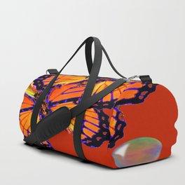 DECORATIVE MONARCH BUTTERFLIES & SOAP BUBBLES  ON TURMERIC  COLOR ART Duffle Bag